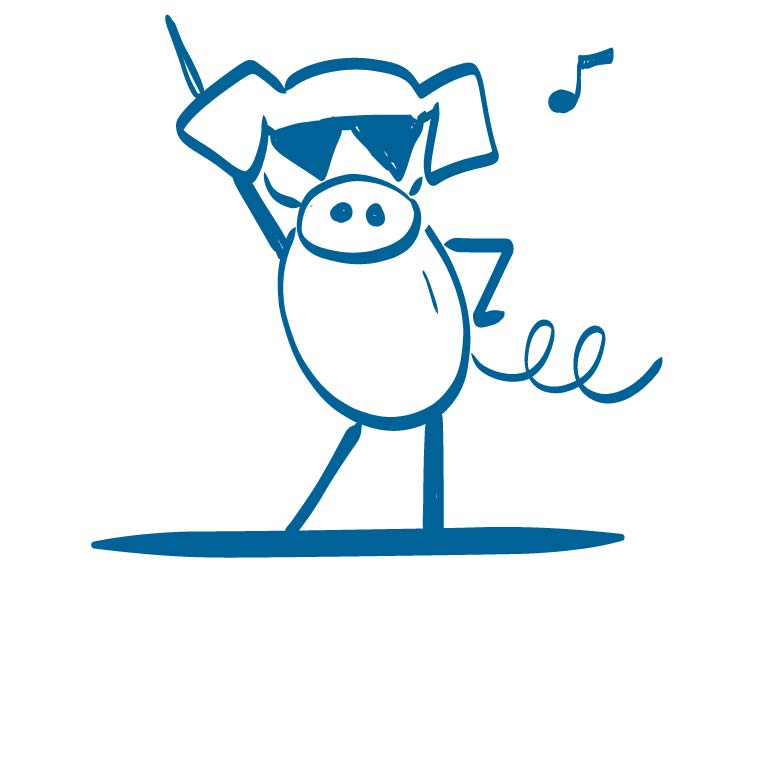 A pig wearing sunglasses with one hand on his hip and the other in the air.