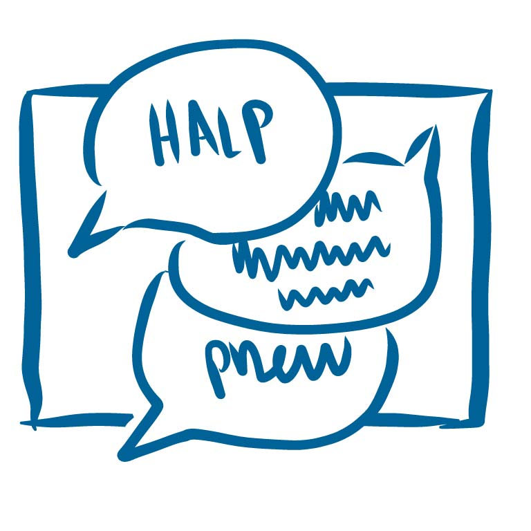 Thought bubbles that say Halp and Phew
