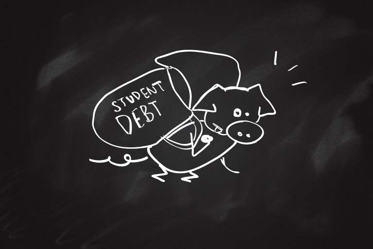 "A drawing of a pig lugging a heavy bag labeled ""Student Debt."""