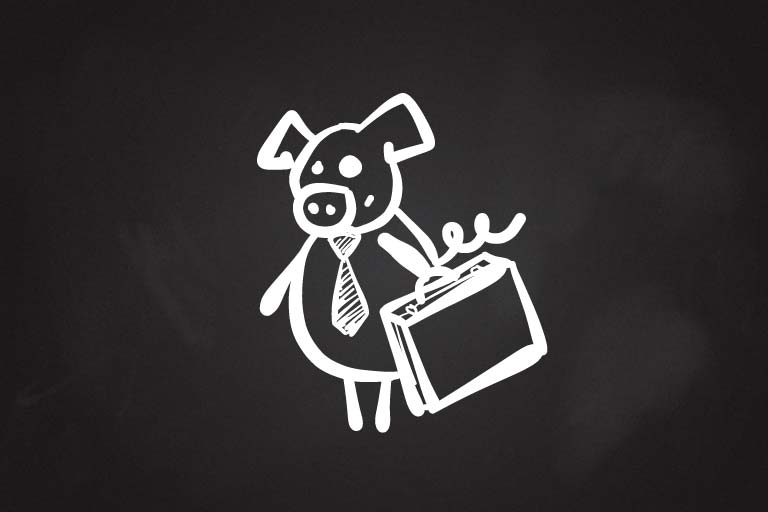 A drawing of a pig wearing a tie and holding a briefcase.