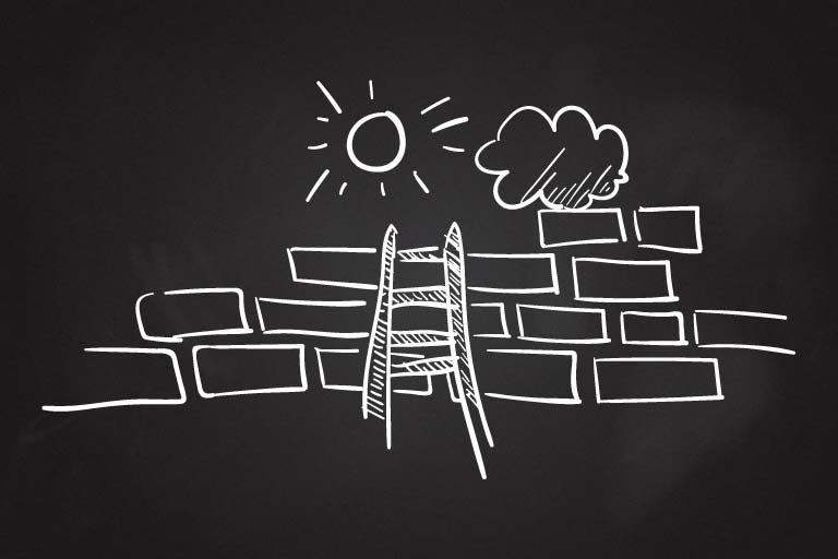 A ladder rests against a brick wall. There is a sun and rain cloud at the top.