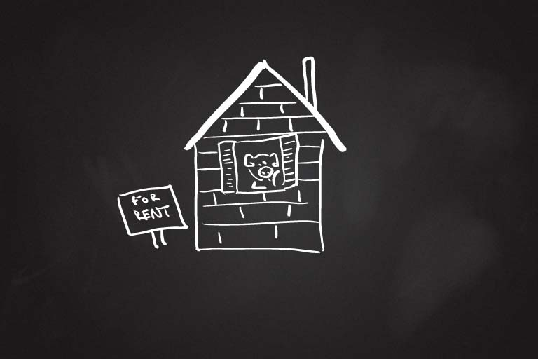 A drawing of a pig in a brick house with a For Rent sign in the front yard.