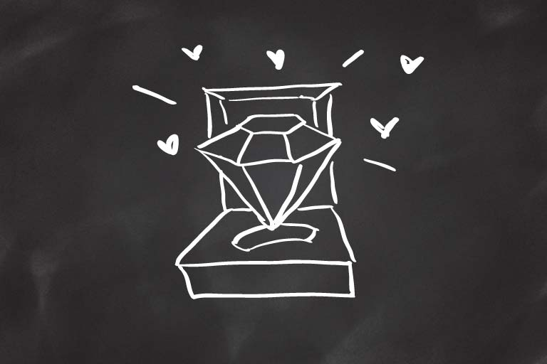 A drawing of a diamond ring in a box.