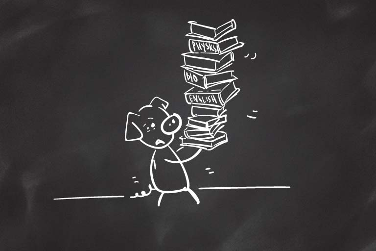 A drawing of a sweating pig holding a giant stack of books.