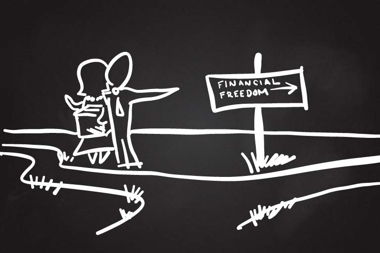 A drawing of two people standing at a crossroads with a sign that reads Financial Freedom pointing to the right.
