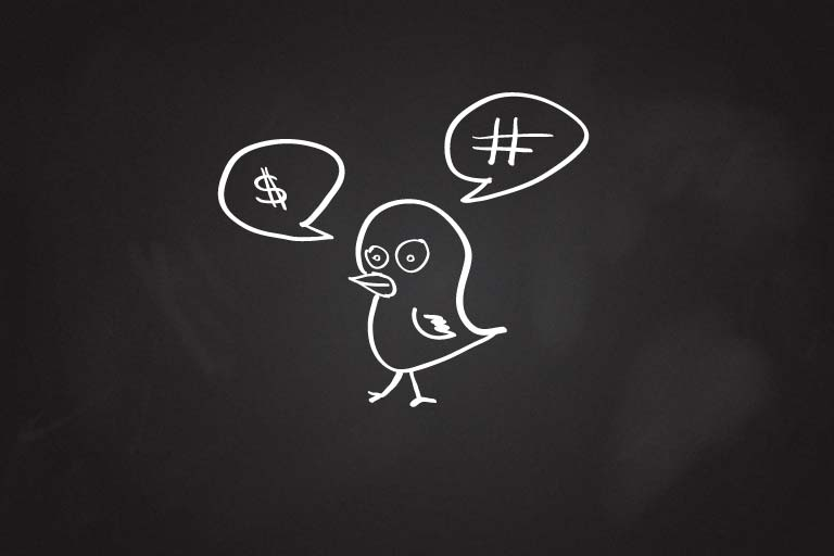 A bird with two thought bubbles, one with a dollar sign in it and one with a hashtag.